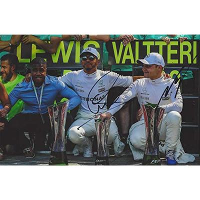 2X AUTOGRAPHED Lewis Hamilton & Valtteri Bottas 2018 AMG Mercedes Racing Team VICTORY LANE TROPHIES (F1 World Champions) Rare Dual Signed Formula 1 Picture 8X11.5 Inch Glossy Photo with COA