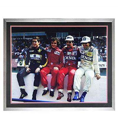 Hand Signed NIGEL MANSELL F1 Framed Iconic 30×24 Photo – PROST SENNA PIQUET – Autographed Sports Photos