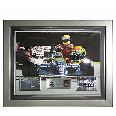Signed Ayrton Senna photo & Nigel Mansell 1/2 Scale Helmet F1 Framed Display – Autographed Extreme Sports Photos