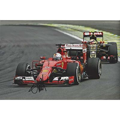 AUTOGRAPHED 2016 Sebastian Vettel #5 Ferrari Racing (Santander Team) 4X WORLD CHAMPION Rare Signed Formula 1 Picture 8X11.5 Inch Glossy F1 Photo with COA