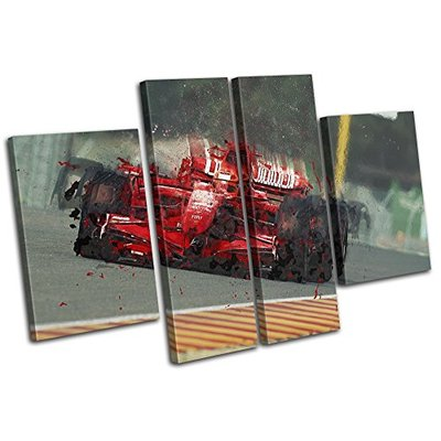 Bold Bloc Design – Formula One Racing Car Red Sports 210x135cm Multi Canvas Art Print Box Framed Picture Wall Hanging – Hand Made in The UK – Framed and Ready to Hang
