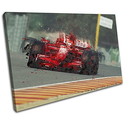 Bold Bloc Design – Formula One Racing Car Red Sports 135x90cm Single Canvas Art Print Box Framed Picture Wall Hanging – Hand Made in The UK – Framed and Ready to Hang