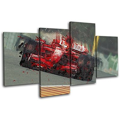 Bold Bloc Design – Formula One Racing Car Red Sports 80x45cm MULTI Canvas Art Print Box Framed Picture Wall Hanging – Hand Made In The UK – Framed And Ready To Hang