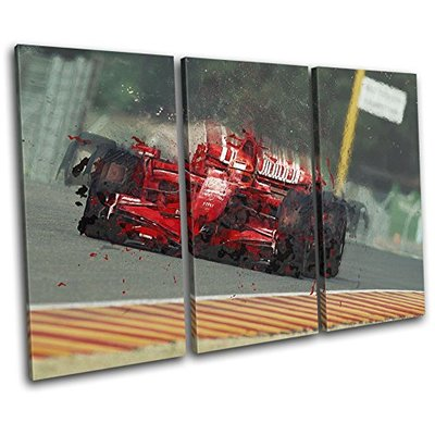 Bold Bloc Design – Formula One Racing Car Red Sports 120x80cm TREBLE Canvas Art Print Box Framed Picture Wall Hanging – Hand Made In The UK – Framed And Ready To Hang