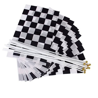 VORCOOL 12pcs Hand Waving Flags Chequered Formula One F1 Racing Banners (Black+White)
