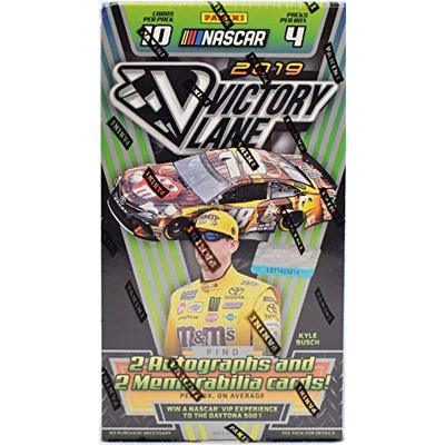2019 Panini Victory Lane NASCAR Racing HOBBY box (4 pks/bx, TWO Memorabilia & TWO Autograph cards)
