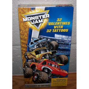 Valentines Day Cards (Box of 32) Monster Jam with Tattoos