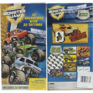 Monster Jam Truck 32 Valentines Day Cards and Tattoos School Class Grave Digger