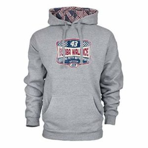 NASCAR Mens Benchmark Colorblock Pullover Hood Bubba Wallace, Premium Heather/Flag, Small