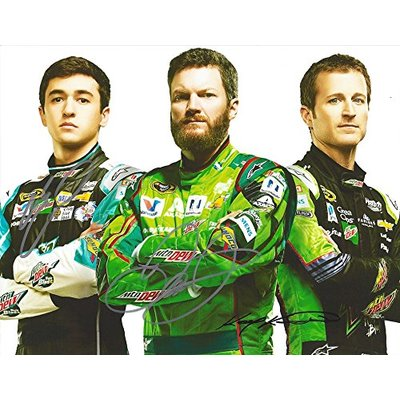 3X AUTOGRAPHED Dale Earnhardt Jr./Chase Elliott/Kasey Kahne 2016 MOUNTAIN DEW RACING TEAM (Hendrick Motorsports) Media Pose Signed NASCAR Picture 9X11 Inch Glossy Photo with COA