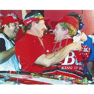 AUTOGRAPHED Dale Earnhardt Jr. #8 Budweiser Racing RACE WIN WITH DAD (Victory Lane with Dale Sr.) Winston Cup Vintage Signed Collectible Picture 8X10 Inch NASCAR Glossy Photo with COA