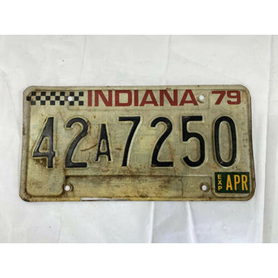 Vintage Indiana License Plate 1979 INDY CAR CHECKERED FLAG 42A7250 Indiana Plate