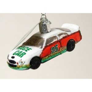 LOVE NASCAR?? STOCK RACING CAR (#25) GLASS CHRISTMAS ORNAMENT NEW