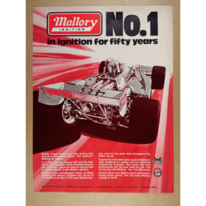 1976 Mallory Ignition Bobby Unser Jorgensen Eagle Indy Car art vintage print Ad