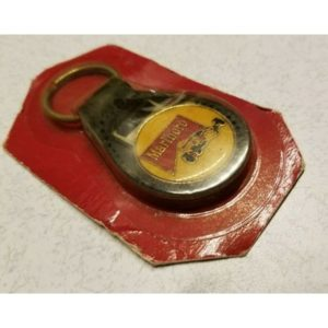 Vintage Marlboro Key Chain Indy Car Racing Leather Back Key Ring 500 IRL 1989