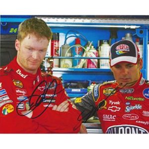 2X AUTOGRAPHED Dale Earnhardt Jr. & Jeff Gordon 2005 NASCAR Nextel Cup Series Drivers (Garage Area Talk) Dual Signed Picture 8X10 Inch NASCAR Glossy Photo with COA