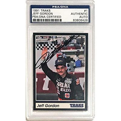 1991 Traks Jeff Gordon Signed Auto Rookie RC Card NASCAR PSA/DNA Slabbed – Autographed NASCAR Cards