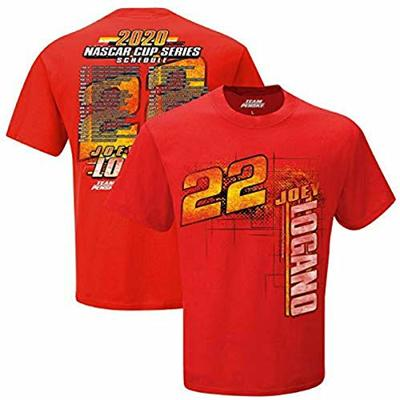 Checkered Flag Sports Men's NASCAR Cup Series 2020 Driver Schedule T-Shirt (Medium, 22 Joey Logano Red)