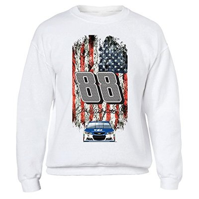 FanPrint Dale Earnhardt Jr. Sweatshirt – Nascar 88;Patriotic Distressed Flag Design – Crewneck Sweatshirt/White/L