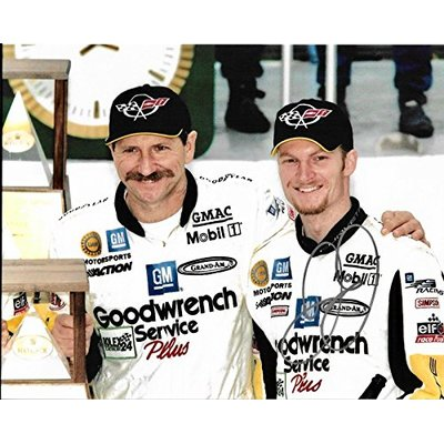 Dale Earnhardt Jr 24 Hour Daytona Signed 8×10 Photo W/Dale Earnhardt Sr W/COA – Autographed NASCAR Photos
