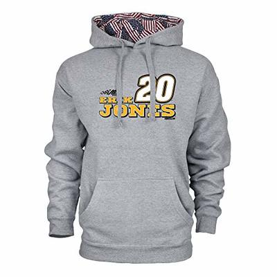 Ouray Sportswear NASCAR Men's Benchmark Colorblock Pullover Hood Erik Jones, Premium Heather Grey/Flag, XX-Large