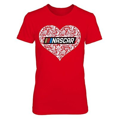 FanPrint Nascar T-Shirt – Lace Logo – Premium Women's Tee/Red/XL