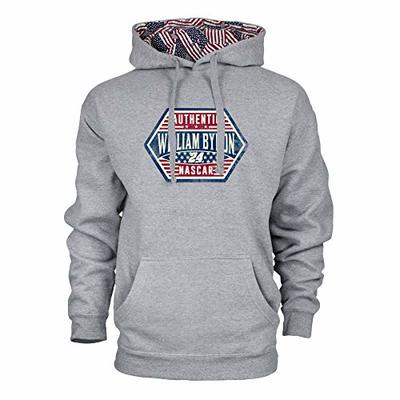 Ouray Sportswear NASCAR Men's Benchmark Colorblock Pullover Hood William Byron, Heather Grey/Flag, Small