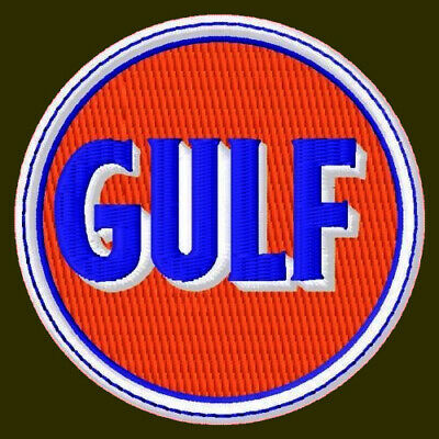 GULF EMBROIDERED PATCH ~2-1/2″ GAS OIL RACING PUMP MOTORCYCLE FORMULA ONE V8 #3