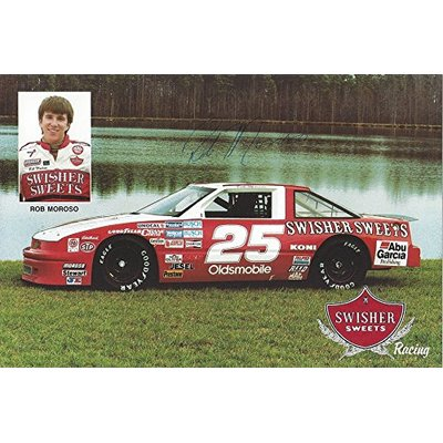 AUTOGRAPHED 1989 Rob Moroso #25 Swisher Sweets Racing ROOKIE OF THE YEAR (Super Star Gone Too Soon) Extremely Rare Vintage Signed 6X9 Inch NASCAR Hero Card Photo with COA