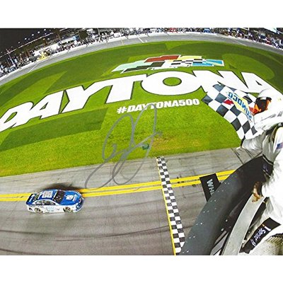 AUTOGRAPHED 2016 Dale Earnhardt Jr. #88 Nationwide Racing DAYTONA INTERNATIONAL SPEEDWAY (Finish Line Checkered Flag) Signed Collectible Picture NASCAR 8X10 Inch Glossy Photo with COA