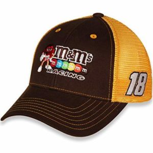 Checkered Flag #18 Kyle Busch Sponsor Mesh NASCAR Trucker Hat – Brown/Gold