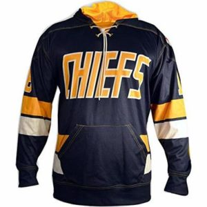 Slapshot Movie Jersey,Hanson Brother #16 Embroidered Long Sleeves Sweater F1 Blue