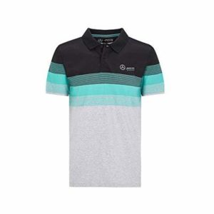 Mercedes Benz AMG Petronas F1 Men's Striped Polo