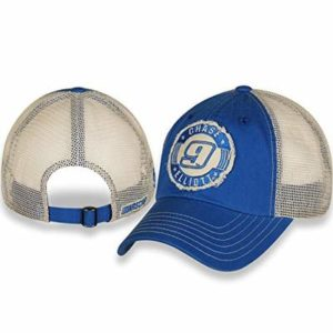 Gills-N-Game Checkered Flag Sports NASCAR Chase Elliott #9 Ladies Blue Herringbone Slub from and Washed Cream Mesh Cap/Hat with Adjustable Closure