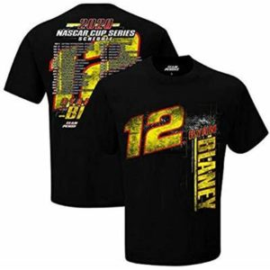 Men's NASCAR Cup Series 2020 Driver Schedule T-Shirt (XL, 12 Ryan Blaney Black)
