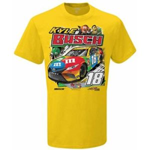 SMI Properties Mens NASCAR Backstretch Tee, Large, Yellow, Kyle Busch