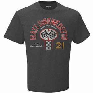 Checkered Flag 2020 NASCAR-Pit Stop-Vintage Retro Dual Blend Driver T-Shirt-Matt DiBenedetto #21-Dark Heather Gray-XL