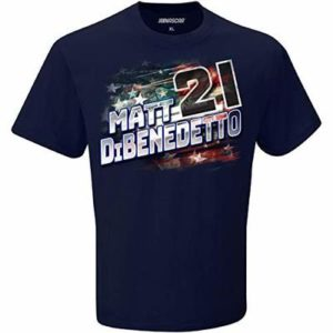 Checkered Flag Sports 2020 NASCAR Men's Patriotic USA Driver/Sponsor T-Shirt-Cotton-Matt DiBenedetto #21-Navy-Large