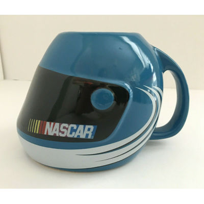 NASCAR 2003 Blue Helmet Coffee Mug Cup Sherwood Brands Auto Racing Logo 4″ Tall