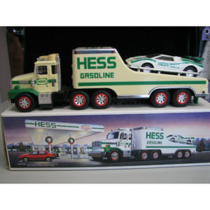 """NEW 1988 HESS """"TOY TRUCK and RACER"""" """"FORMULA ONE STYLE RACE CAR"""" BATTERY TESTED"""