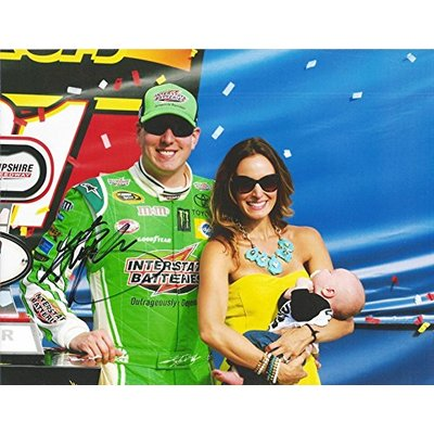 AUTOGRAPHED 2015 Kyle Busch #18 Interstate Batteries Racing NEW HAMPSHIRE RACE WIN (Victory Lane with Family) Gibbs Signed Collectible Picture NASCAR 9X11 Inch Glossy Photo with COA
