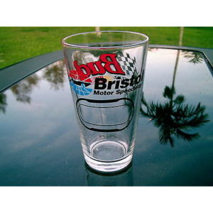 NASCAR RACING BUD BRISTOL MOTOR SPEEDWAY BEER GLASS