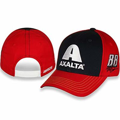 NASCAR Alex Bowman Axalta #88 Black Front Panel and Red Back Panels with a Red Bill and Contrast Neon Yellow Stitching with Adjustable Closure