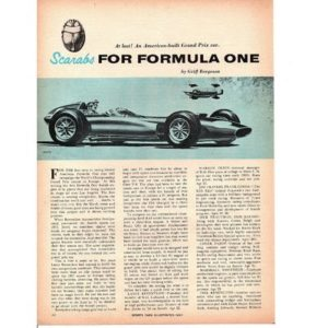 1959 SCARABS FOR FORMULA ONE ~ ORIGINAL 6-PAGE ARTICLE