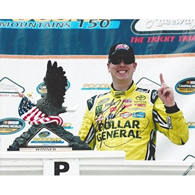 AUTOGRAPHED 2015 Kyle Busch #51 Dollar General Racing POCONO WIN (Camping World Truck Series) Victory Lane Trophy 8X10 Signed Picture NASCAR Glossy Photo with COA