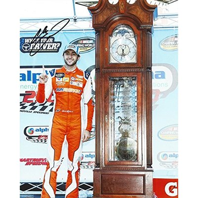 AUTOGRAPHED 2017 Chase Elliott #23 Allegiant Racing MARTINSVILLE RACE WIN (Grandfather Clock Trophy) Camping World Truck Series Signed Collectible Picture NASCAR 8X10 Inch Glossy Photo with COA