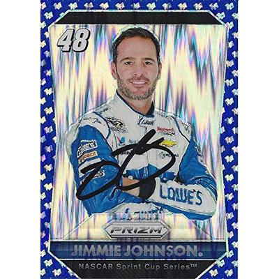 AUTOGRAPHED Jimmie Johnson 2016 Panini Prizm Racing BLUE PARALLEL (Hendrick Motorsports) Signed NASCAR Collectible Trading Card with COA #96/99
