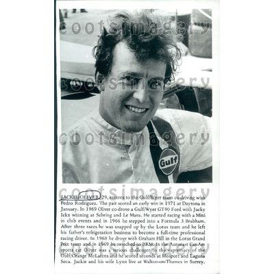 1974 Wire Photo British Formula One Auto Racing Driver Jackie Oliver
