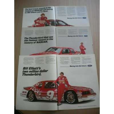 3 Bill Elliott Ford Nascar Race Car  Ads 1985/86/87