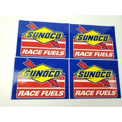 4 Authentic SUNOCO Race Fuels Racing Decals Stickers NASCAR 5-1/2″ x 7-3/4